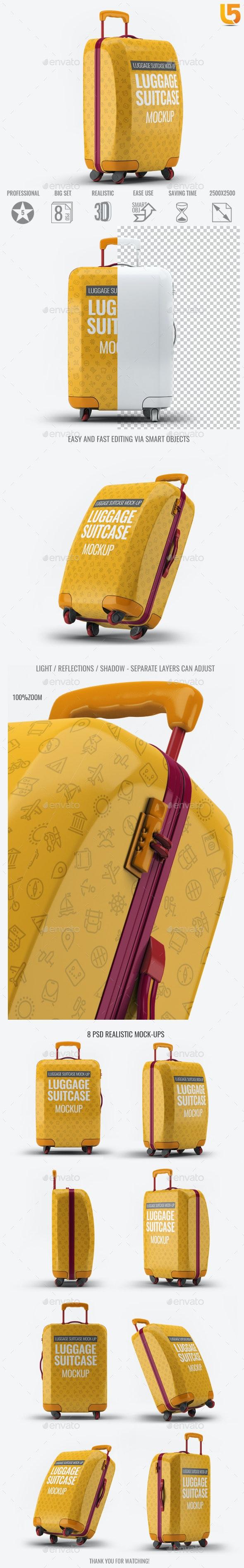Luggage Suitcase Mock-up - Product Mock-Ups Graphics