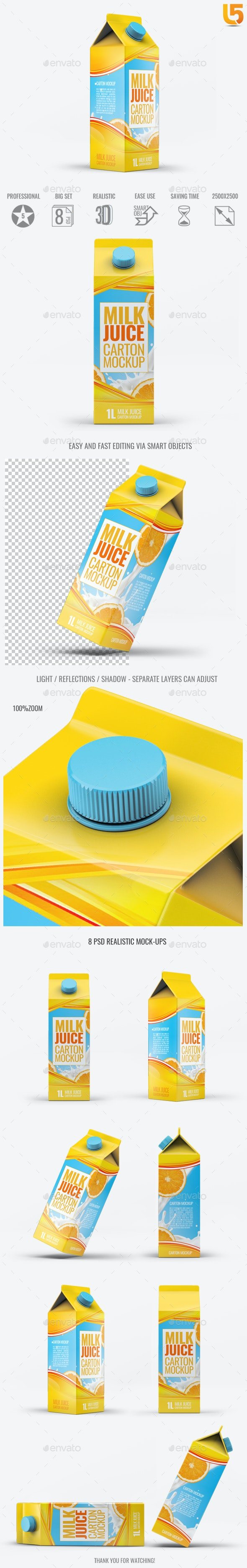 Milk or Juice Carton Mock-Up v.3 - Food and Drink Packaging