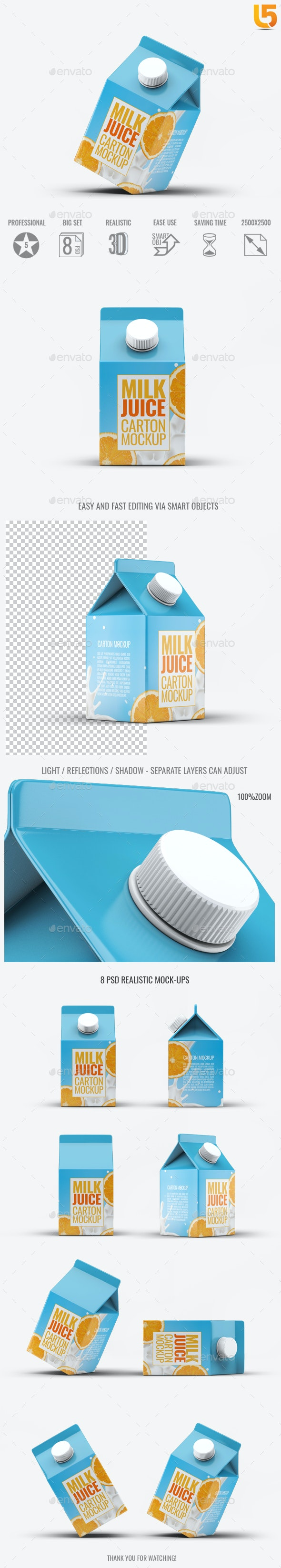 Milk or Juice Carton Mock-Up v.4 - Food and Drink Packaging