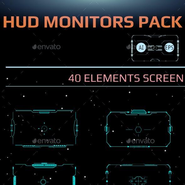 HUD Futuristic Element Pack For 40 UI Target Monitor Screen