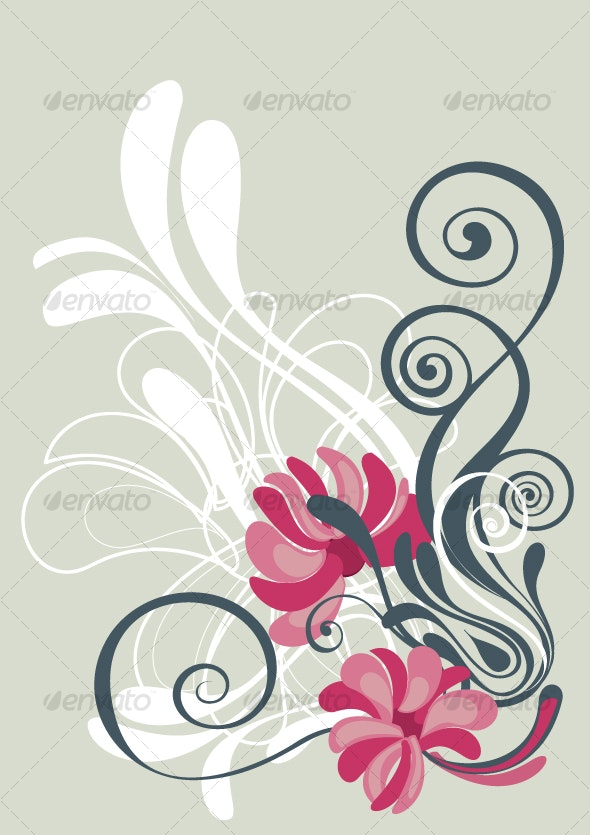 Floral background in vibrant beautiful shades - Flourishes / Swirls Decorative