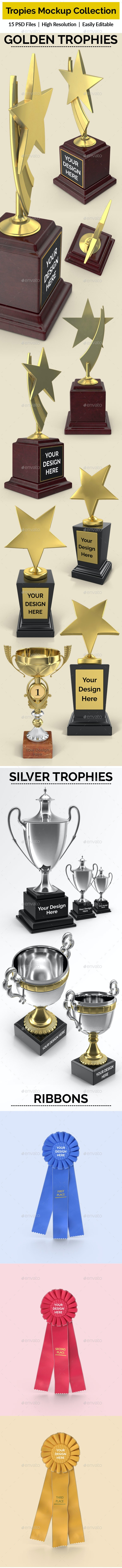 Trophies and Ribbon Mockup Collection - Miscellaneous Print