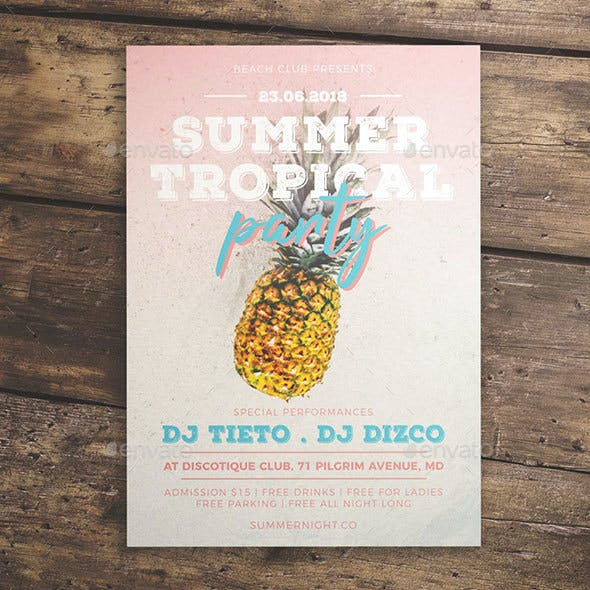 Summer Tropical Party Flyer