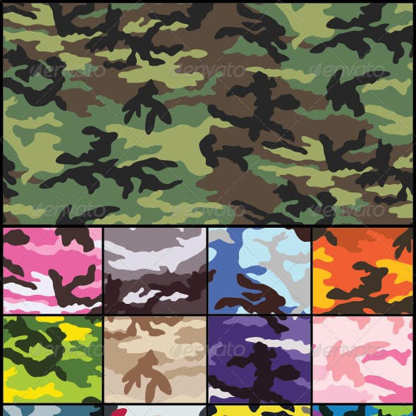 Woodland Camouflage Seamless Pattern Set