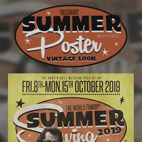 A3 Retro Summer Poster / Flyer Music Template