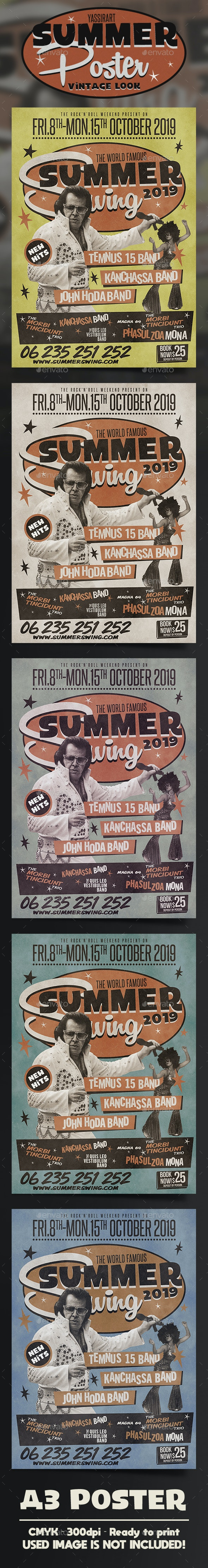 A3 Retro Summer Poster / Flyer Music Template - Clubs & Parties Events