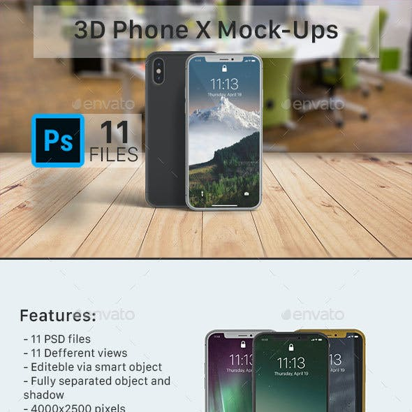3D Phone X Screen Mockup