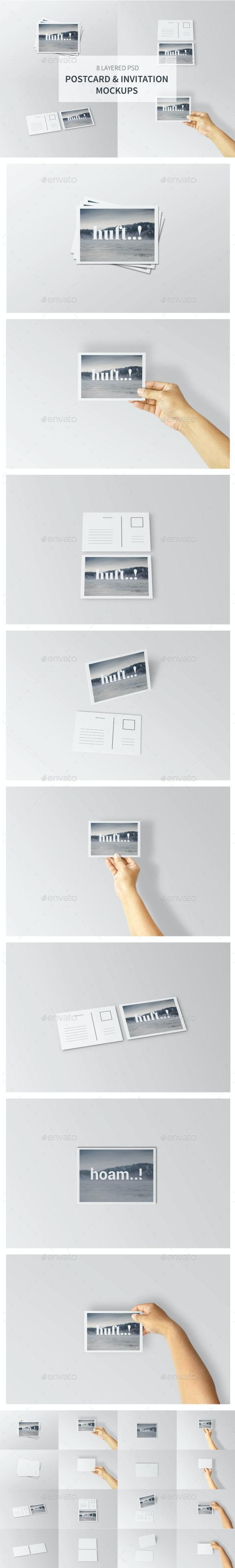 Postcard & Invitation Mockups - Print Product Mock-Ups