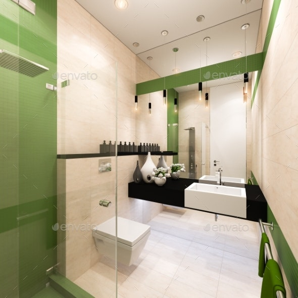 Interior Design of the Bathroom in a Modern - Architecture 3D Renders