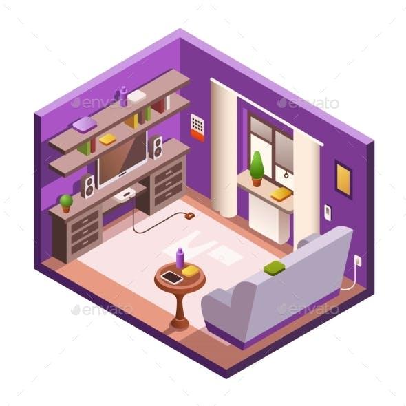 Vector Isometric Living Room Interior Background
