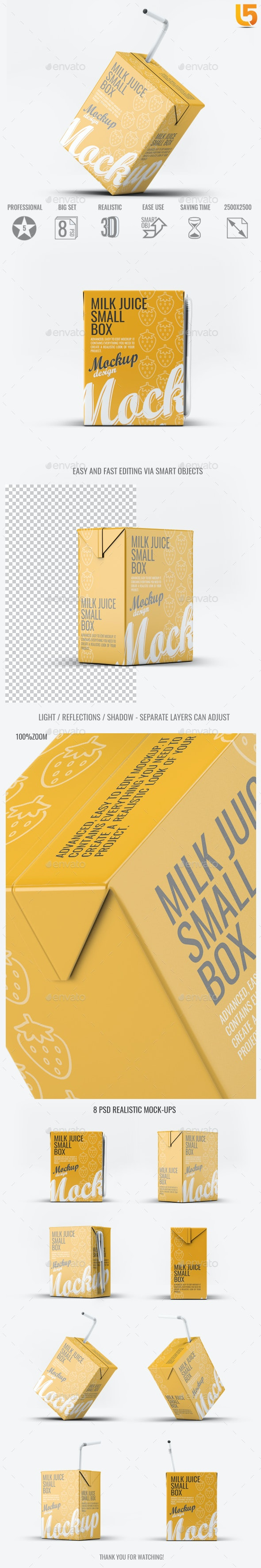 Milk or Juice Small Box Mock-Up - Food and Drink Packaging
