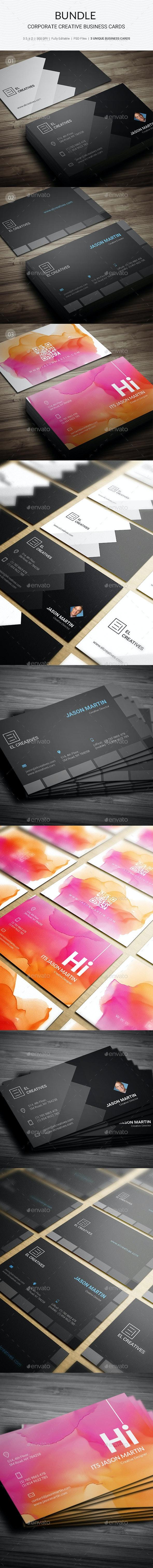 Bundle - Creative Corporate Business Cards - 168 - Creative Business Cards