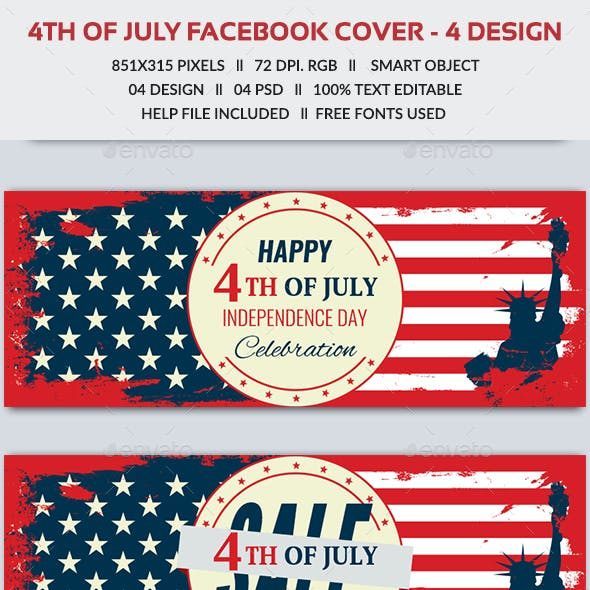 4th of July Facebook Cover- 4 Designs- Images Included
