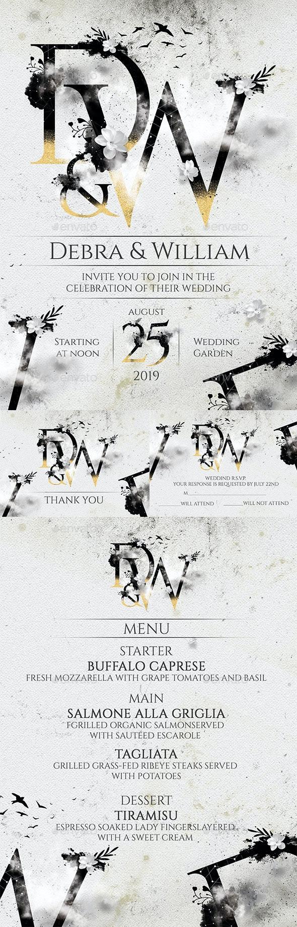 Typography Wedding Invitation - Wedding Greeting Cards