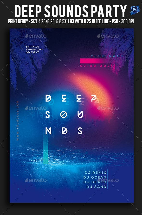 Deep Sounds Party Flyer - Clubs & Parties Events