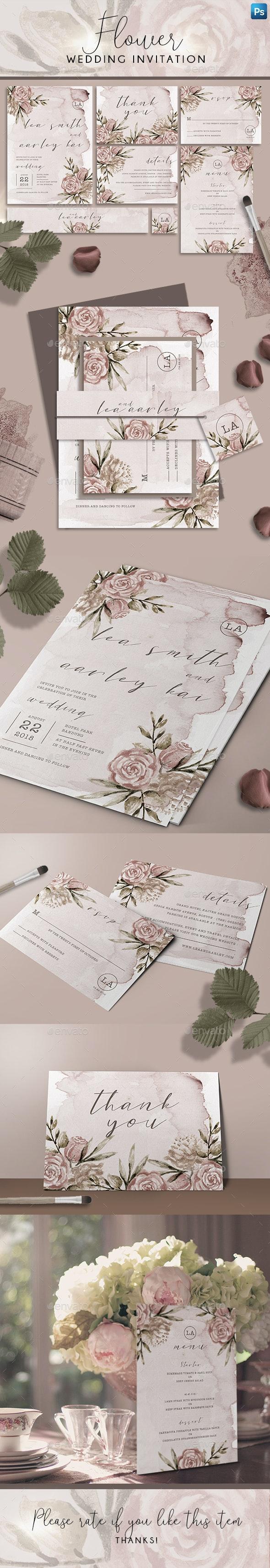 Flower Wedding Invitation - Weddings Cards & Invites