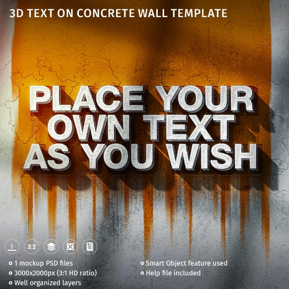 3D Text On Concrete Wall Template