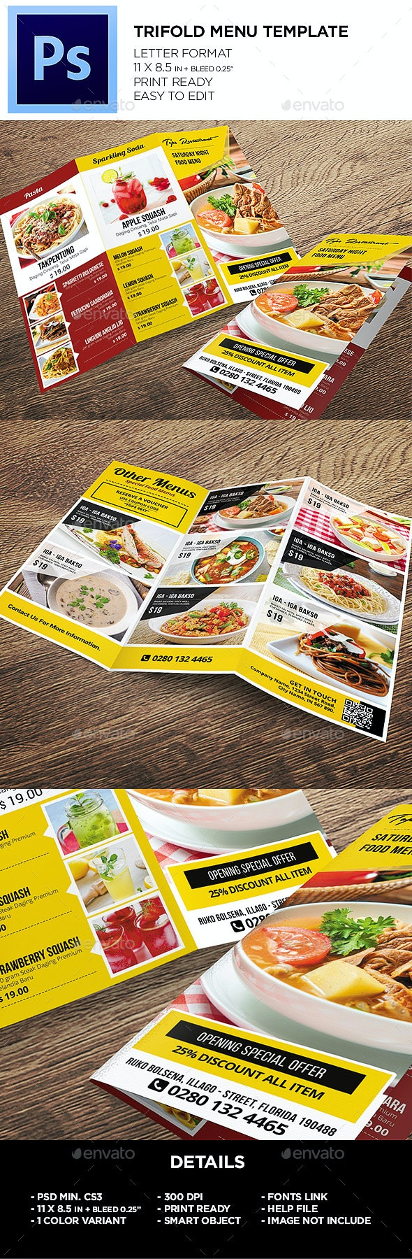 Restaurant Menu - Food Menu Template - Food Menus Print Templates
