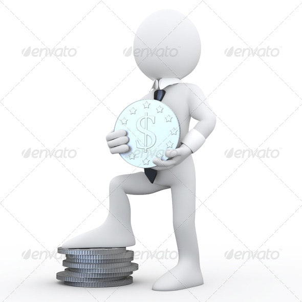 Businessman Holding Dollar Sign - 3D Renders Graphics