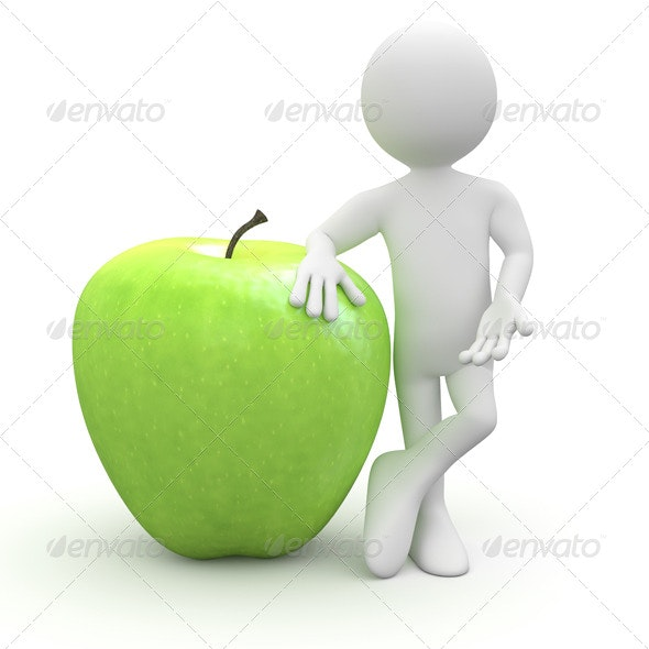 Man Leaning on a Huge Green Apple - 3D Renders Graphics
