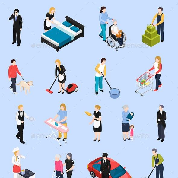 Home Staff Isometric Icons