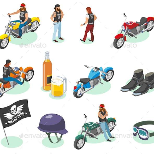 Isometric Bikers Icon Set