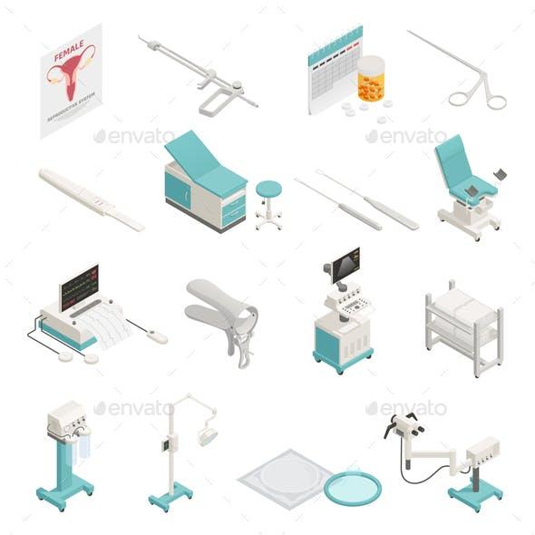 Gynecology Isometric Icons Set