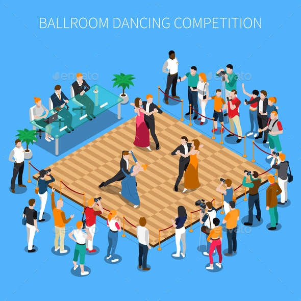 Ballroom Dancing Competition Isometric Composition - People Characters