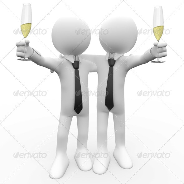 Friends Making a Toast with a Glass of Champagne - 3D Renders Graphics