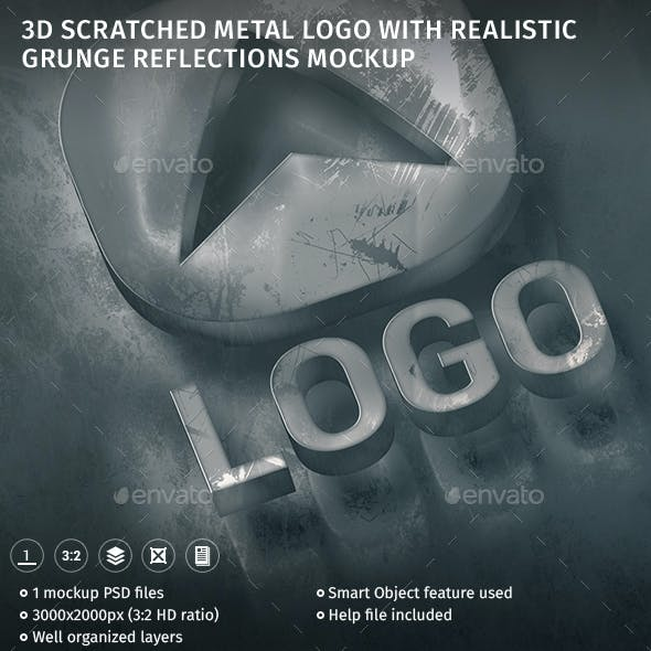3d Scratched Metal Logo With Realistic Grunge Reflections Mockup