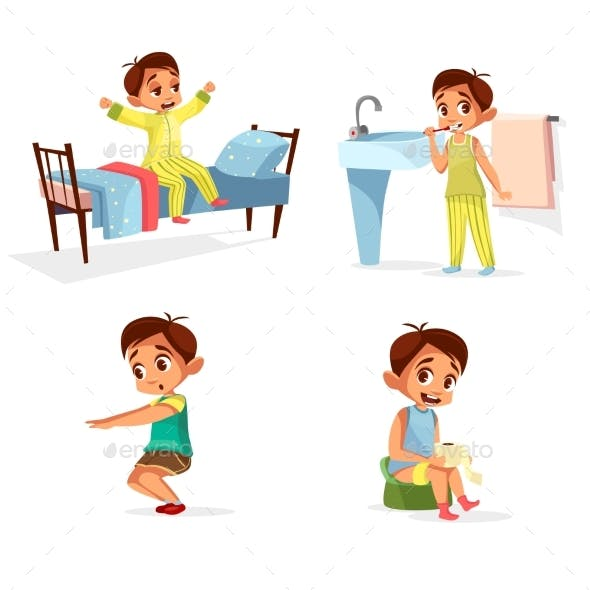 Vector Cartoon Boy Daily Morning Routine Activity