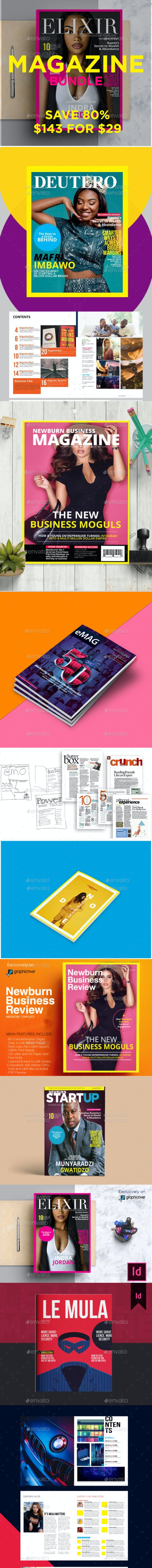 The Ultimate Magazine InDesign Print Template Bundle - Magazines Print Templates