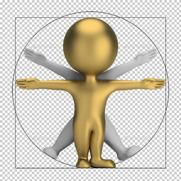 3D Small People - Vitruvian Man - Characters 3D Renders