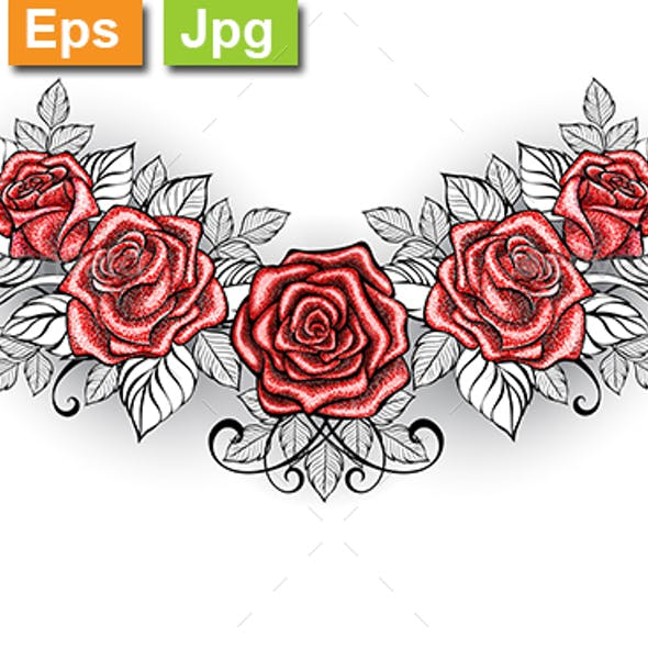 Dotwork Red Roses Tattoo