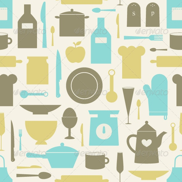 Seamless Pattern Of Kitchen Tools - Backgrounds Decorative