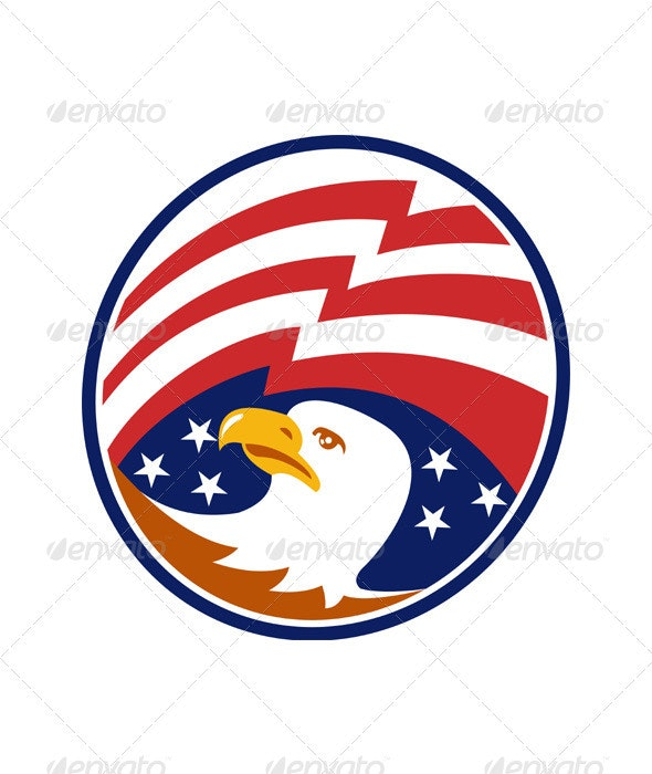 American Bald Eagle With Flag - Animals Characters