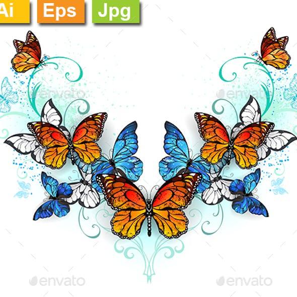 Symmetrical Pattern of Blue and Orange Butterflies