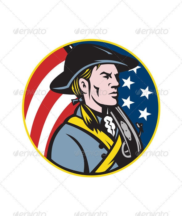American Patriot Minuteman With Flag - People Characters