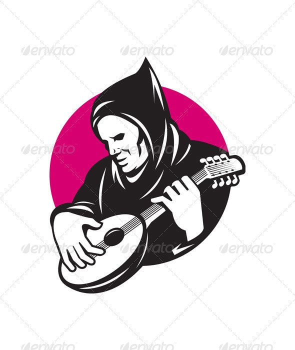 Hooded Man Playing Banjo Guitar - People Characters