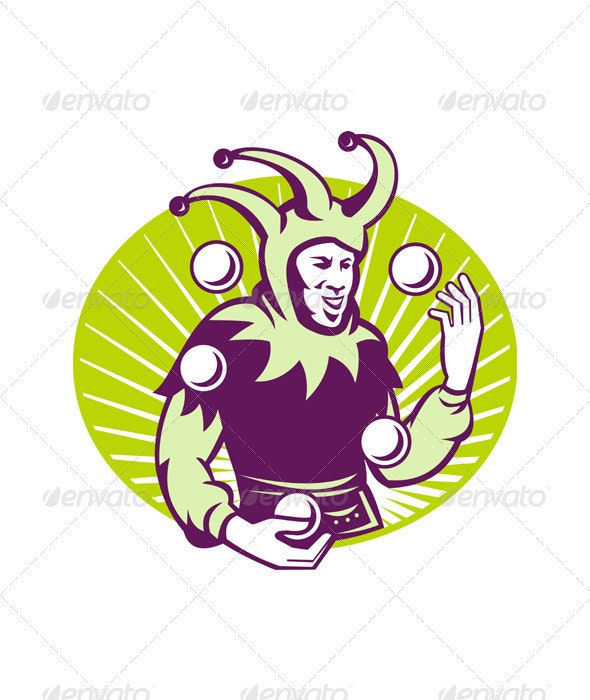 Jester Juggler Juggling Balls Retro - People Characters