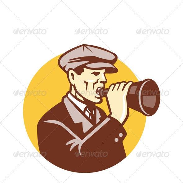 Man Shouting With Vintage Bullhorn Retro