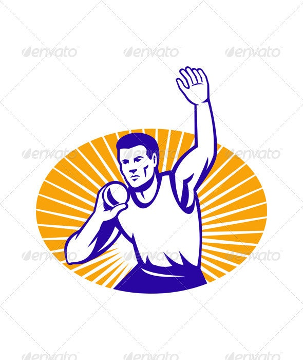 Athlete Shot Put Throw Retro - People Characters