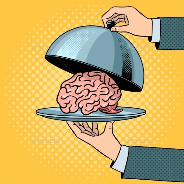Brain on Dish with Cloche Pop Art Vector