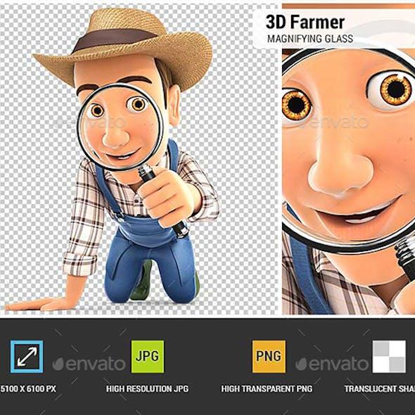 3D Farmer Looking Through a Magnifying Glass