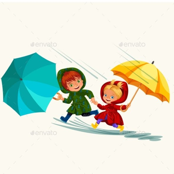 Children Walking Under Raining Sky