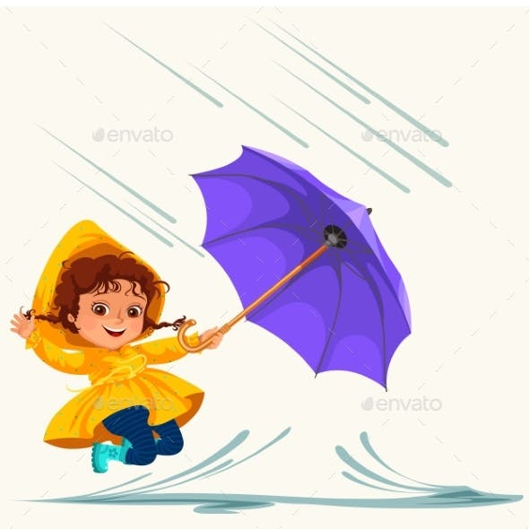 Child Walking Under Raining Sky