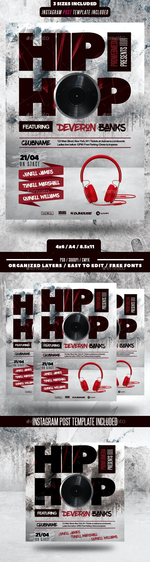Hip Hop Event Flyer - Clubs & Parties Events