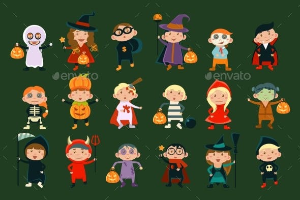 Flat Vector Set with Children in Festive Costumes