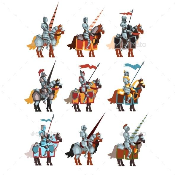 Flat Vector Set of Medieval Knights on Horseback