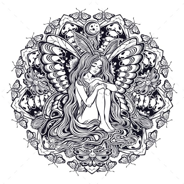 Moth Girl Butterfly with Long Hair Unique Mandala